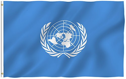 ANLEY [Fly Breeze] 3x5 Foot United Nations Flag - Vivid Color and UV Fade Resistant - Canvas Header and Double Stitched - UN International Flags Polyester with Brass Grommets 3 X 5 Ft
