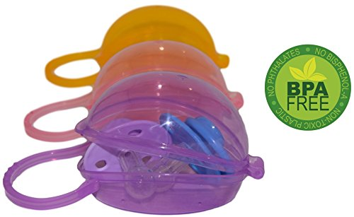 Soothie Pacifier Case by Akeekah | 3 Pack for Girls | Baby Pacifier Holder Girl and Pacifier Pouch with Awesome Colorful Designs | Safe BPA Free Breast Shield Case with Free Eco-Friendly Mesh Bag ()