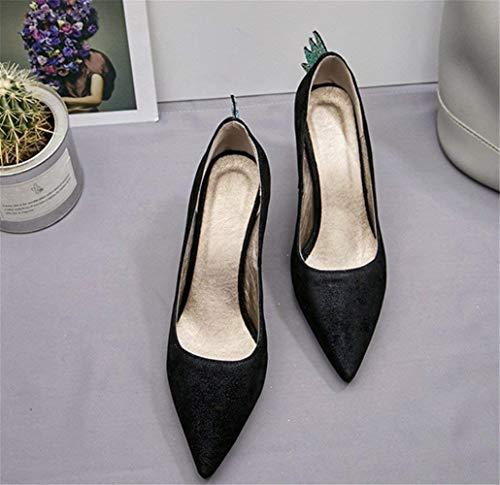 Tacco lampeggianti sandali aperta donna donna aperta Nero Scarpe Scarpe da punta   21dc9f