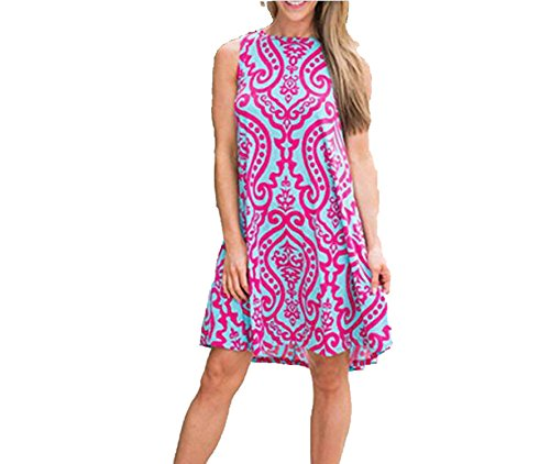 better-caress Casual O Neck Print Vestidos Pockets Sleeveless Loose Sky Blue 2018 Short Shift Robe,red,XL - Neck Caress Satin