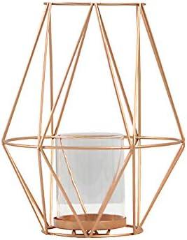 PeiQiH ローソク足 幾何学的です 鉄 キャンドル ホルダー, 中空 メタル ティーライトホルダー テーブル トップ 目玉 の 結婚 新築 誕生日 ギフト-ローズゴールド-l 17.5x23cm