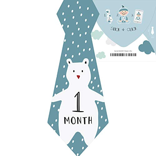 Baby Boy Monthly Milestone Stickers - Use Photo Prop, Wall Decor or Shower Gift | 12 Months | Ice Cream Bear | Sea Clouds Fish | ()