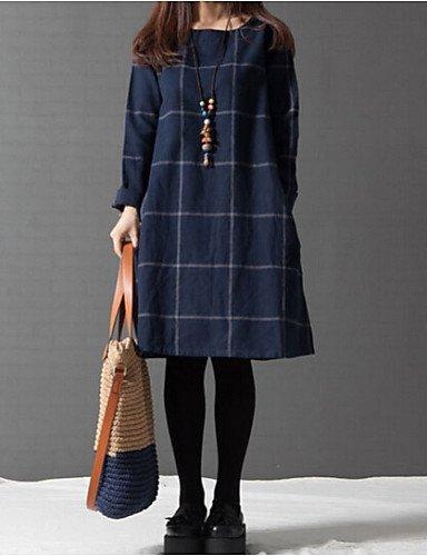 GSP-Damen Kleid - Übergrößen Übergröße / Sexy Patchwork Übers Knie Nylon Rundhalsausschnitt