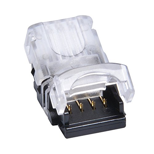 QIJIE 5050 RGB LED Strip Connector 4 Pin for Waterproof 10mm Flexible Tape Light, Board To Wire (22~20AWG), Applicable To Digital Strip WS2813, Terminal Only, No Wire Included, Pack of 10 PCS]()