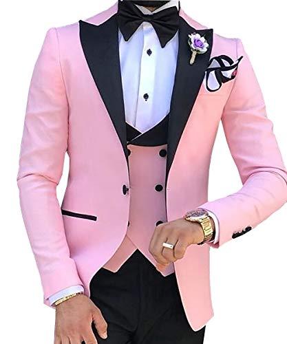 Men's 3 Pieces Suit Formal Slim Fit Notched Lapel Solid Tuxedos Groomman for Wedding(Blazer+Vest+Pants)(Pink,40US) ()