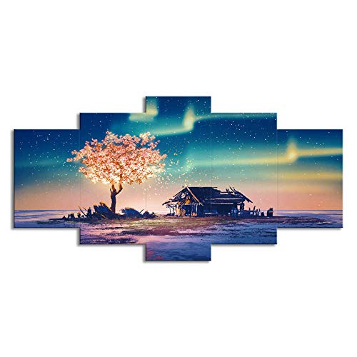 Office Cottage Modular (Soefipok 5 Sets of Curtain Wall Art Aurora Cottage Tree Abstract Landscape Modular Home Decoration Art Wall ArtCanvas Decoration Stretched and Framed Ready to Hang)