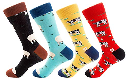 (Searchself Women's Funny Cute Animal Design Casual Socks (Pack of 4) (Cow Sheep))