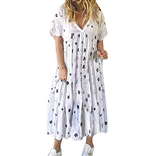 Casual Pleated Printing Maxi Dress,Ladies Ruffled Pleats Loose Nightdress V-Neck Short Sleeve Dresses Sunmoot White
