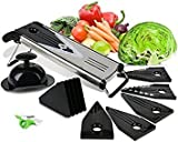 Mandoline V-Blade Slicer / Premium Slicing Mandoline for Fruit and Vegetables with 5 different blade inserts with free finger peeler by NOSH Kitchen