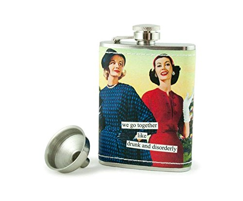 Anne Taintor Stainless Steel Hip Flask With Funnel - We Go Together Like Drunk And Disorderly -