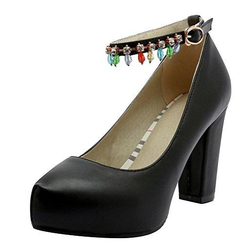 YE Damen Ankle Strap Pumps Blockabsatz Plateau High Heels Geschlossen mit Schnalle und Strass Elegant Schuhe Schwarz