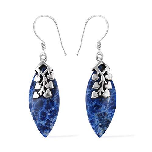(Dangle Drop Earrings 925 Sterling Silver Sponge Coral Gift Jewelry for)
