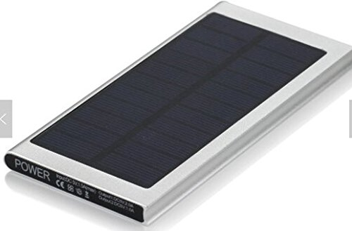 Solar Charger 8000mAh Portable Solar Power Bank USB Charging port compatible with IPhone, iPad, Android and more (Silver) by Sydney Hope