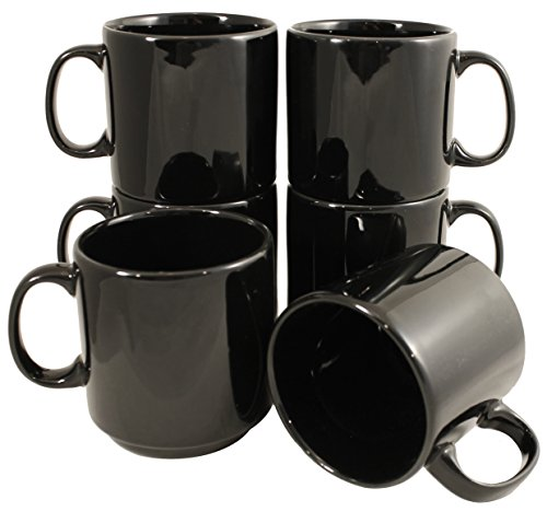10 Ounce Stackable Mug - Stackable Ceramic Diner Coffee and Tea Mugs with Pan Scraper, 10 Ounce (6-Pack, Black)