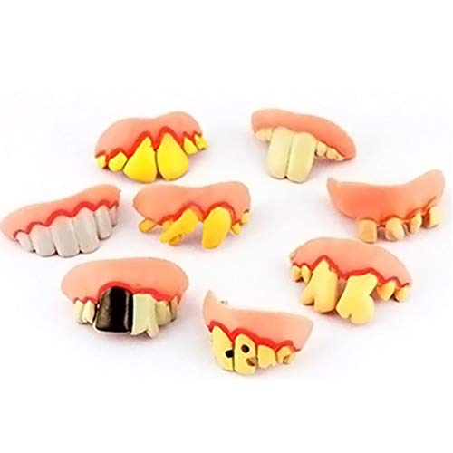 bromrefulgenc 4Pcs Funny Trick Toy, Fake Teeth Buckteeth Braces Cosplay Party Prank Trick Toy for Halloween April Fools' Day Party Decor Random Style 4pcs