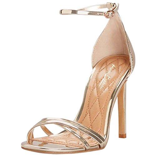 TIMELESS01S Metallic Style Cross Bridal Heels Davids Asymmetrical Gold Strap ngwq01wPO
