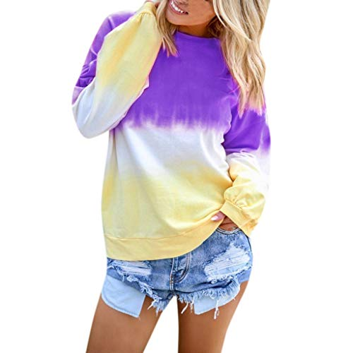 Xinantime Womens Gradient Loose Tees Casual Colorblock Shirt Long Sleeve Pullover Sweatshirt Tops Round Neck Blouse(Purple,XXXXL)