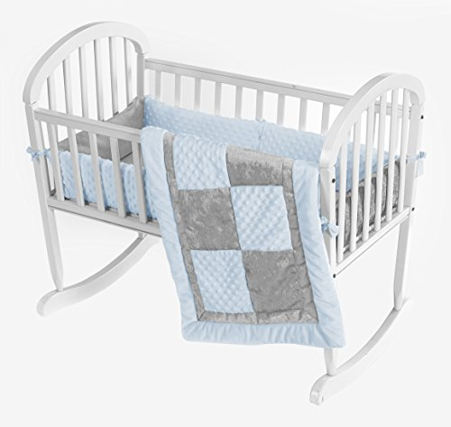 Baby Doll Bedding  Croco Minky Cradle Bedding Set, Blue/Grey