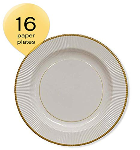Sophistiplate 241Qcl2 Classic Paper Dinner Plates, Gold Righe (Pack of 16)