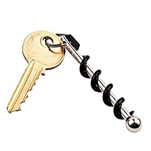 OrliverHL Portable Red Wine Bottle Corkscrew Keychain Opener Ring Set