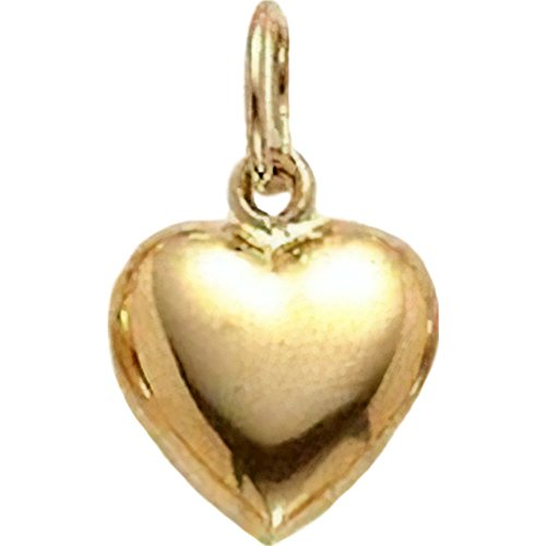14K Yellow Gold Puffed Heart Charm Pendant Jewelry 8 x 6 mm