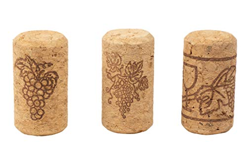 Set of 200 Wine Corks - Bottle Corks with Grape Vine Design, Non-Recycled Straight Corks, Natural Cork Stoppers, Brown - 0.93 x 1.7 Inches by Juvale (Image #3)