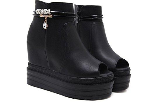 KPHY Pretty/Zapatos de Mujer/En La Primavera Y El Verano De Zapatos De Mujer Zapatos De Tacon Alto Boca De Pescado 12 Cm Fondo Grueso Muffin Zapatos Y Sandalias Y Sandalias.Treinta Y Ocho Black