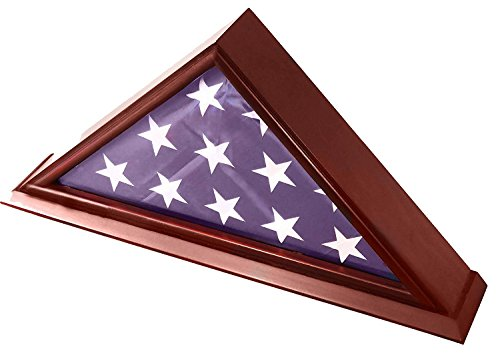 DECOMIL-5×9-BurialFuneralVeteran-Flag-Elegant-Display-Case-with-Base-Solid-Wood-Cherry-Finish