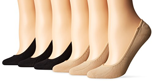 PEDS Women's Ultra Low Microfiber Liner with Gel Tab-6 Pairs, Black/Nude, Shoe Size: 8-12