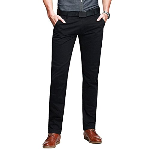 Mens Casual Slim-Tapered Flat-Front Pants Black Lable 34 (US 32)