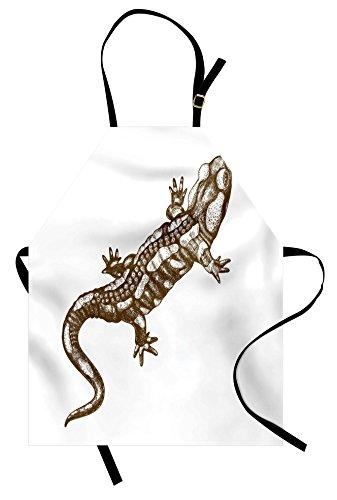 Lunarable Animal Apron, Exotic Salamander Lizard Retro Styled Reptile Wilderness Theme Sketchy Illustration, Unisex Kitchen Bib Apron with Adjustable Neck for Cooking Baking Gardening, White Beige by Lunarable