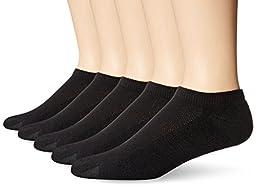 Hanes Men\'s 5-Pack Ultimate FreshIQ X-Temp No Show Socks, Black, 10-13 (Shoe Size 6-12)
