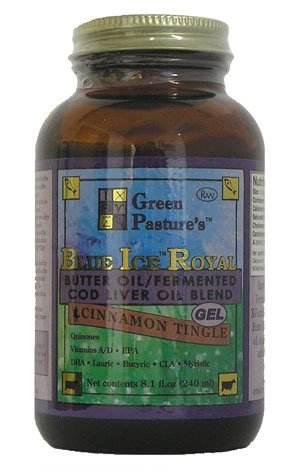 Green Pasture's Blue Ice Royal Butter Oil / Fermented Cod Liver Oil Blend - CINNAMON GEL - 8.1 fl.oz (240ml)