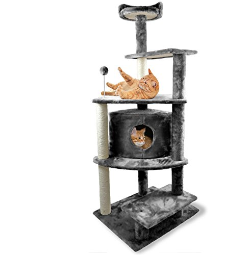 Furhaven Tiger Tough Cat Tree House Furniture for Cats and Kittens, Platform House Playground, Gray
