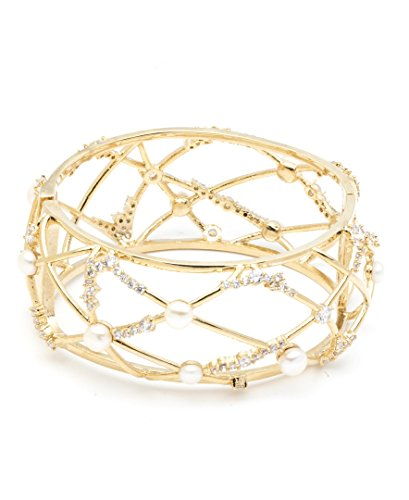 (Carolee Women's Open Caged Hinged Cuff Bracelet, Gold/White)