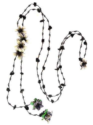 Homemade Greek And Roman Costumes (BDJ Black Tone Boho Flower Design Genuine Leather Strand Y-Necklace 28 Inches.)