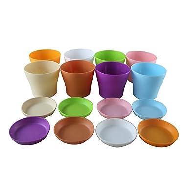 Truedays 4  Mini Plastic Flower Seedlings Nursery Pot/ Planter / Flower Pot with Pallet 8 Colors,All