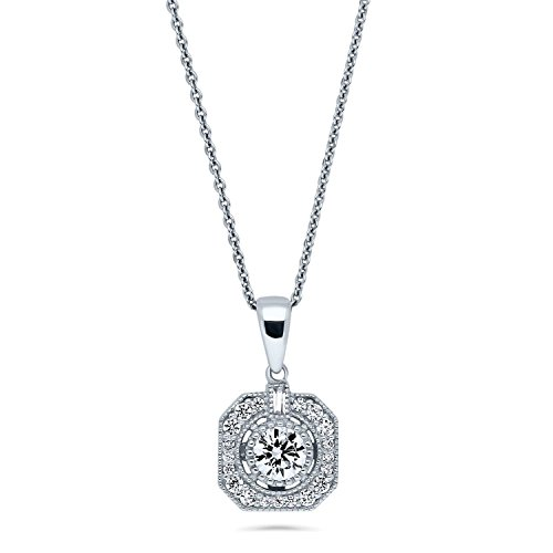BERRICLE Rhodium Plated Sterling Silver Cubic Zirconia CZ Art Deco Pendant Necklace 18