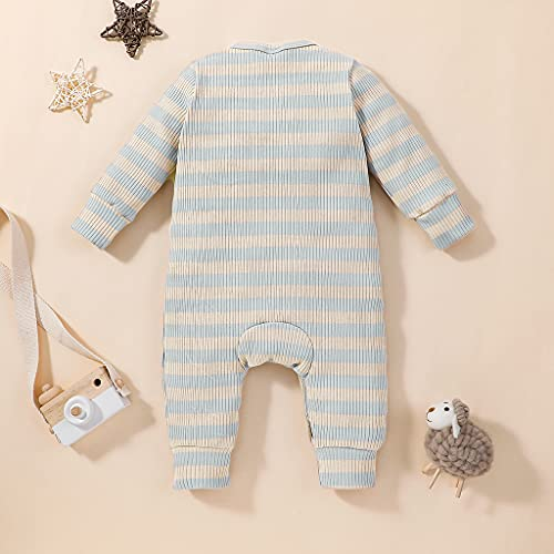 baby girl clothes 3-6 months onesies boy fall winter khaki yellow blue stripe ribbed romper outfits with mittens long sleeve