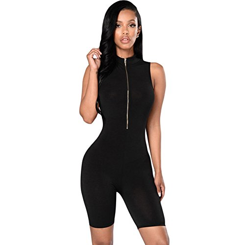 - 416JHXAOmFL - Century Star Womens Close Fit Zip Front Mock Neck Sleeveless Capris Romper Jumpsuit