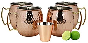 A29 Moscow Mule 100 % Solid Pure Copper Mug / Cup (16-Ounce / Set of 4, Hammered), Nickel Lined, with BONUS Shot Glass and Free Recipe Booklet