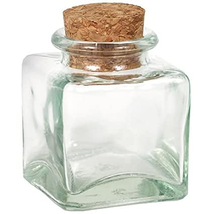 Amazoncom Small Square Glass Jar With Cork Top 3oz Home Kitchen