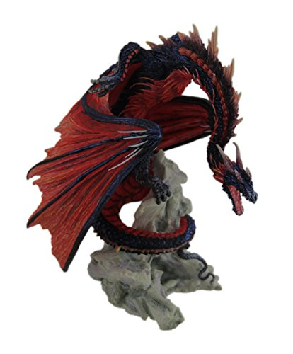 Veronese Resin Statues Andrew Bill Bloodfire Hand Painted Red Dragon Statue 7 X 8.25 X 5.5 Inches Red