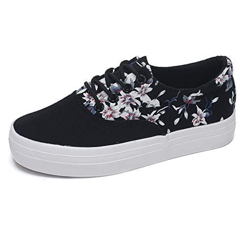 Nhequren Verano Casual de Primavera Mujer Zapatos Negro 2018 Estilo Lona Vulcanizado UrfUq0w