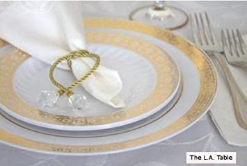 Amazon.com Palatial Gold Dinner Plates - 10.5\  (Set of 10) Kitchen \u0026 Dining & Amazon.com: Palatial Gold Dinner Plates - 10.5\
