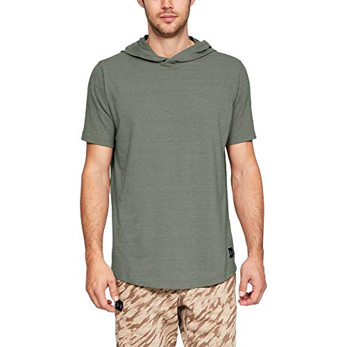 (Under Armour Men's sportstyle Short sleeve Hoody, Moss Green (492)/Black, Large)