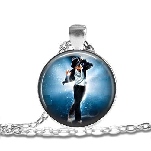 MICHAEL JACKSON - King Of Pop Bezel Pendant Necklace Silver Plated AMZN34 (Michael Jackson Man In The Mirror Chords)