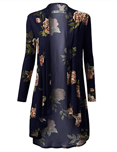URBANCLEO Womens Floral Hi-Lo Open Front Long Cardigan Navy, -