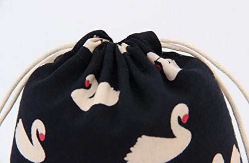 0a516ded40 Kanggest Drawstring Bag Lovely Swan Pattern Travel Drawstring Storage Bags  Small Black Gym Bags Wedding Favor Gift Bag Portable Cosmetics Toiletry  Pouch ...