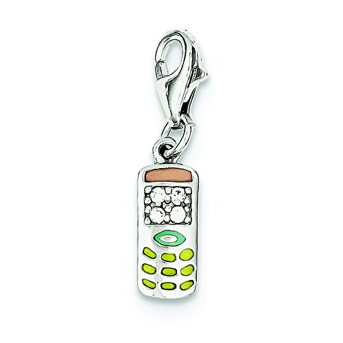 Pendants Accessories and Fashion Charms .925 Sterling Silver CZ & Enameled Cell Phone Charm Pendant